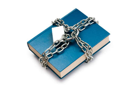 Censorship concept with books and chains on white Stock Photo - 9918226
