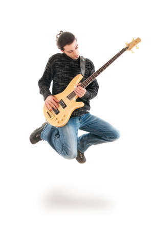 Guitar player jumping in the air Stock Photo - 9992652