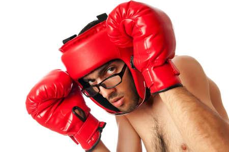 Funny boxer isolated on white photo