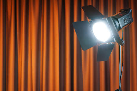 Curtains and projector lights wtih space for your text Stock Photo - 10058478