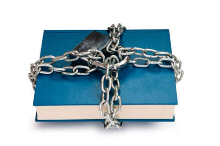 Censorship concept with books and chains on white Stock Photo - 10058419