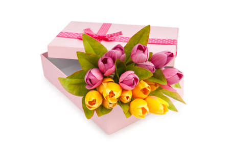 Giftbox and tulips isolated on white Stock Photo - 10057975