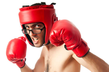 boxing boy: Funny boxer isolated on white