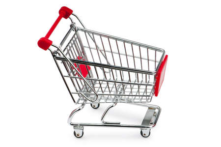 consumers: Shopping cart against the white background Stock Photo