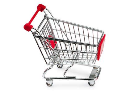 consommateurs: Votre panier contre le fond blanc