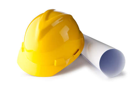 hard: Hard hat and drawings isolated on white Stock Photo