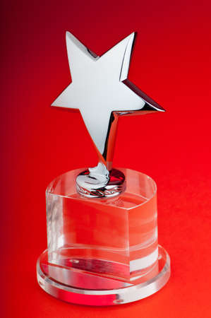 the plaque: Star award against curtain background Stock Photo