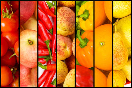 Collage of many fruits and vegetables photo