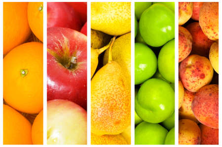 fresh fruits: Collage of many fruits and vegetables
