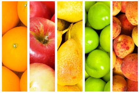 Collage van veel groenten en fruit