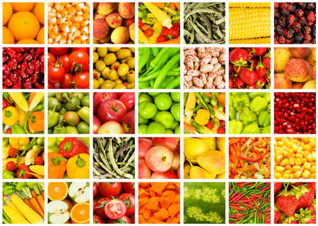fruit mix: Collage of many fruits and vegetables