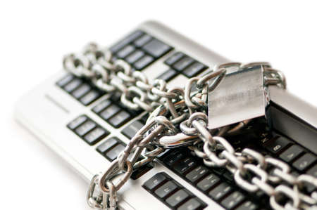 internet fraud: Concept of internet security with padlock and keyboard