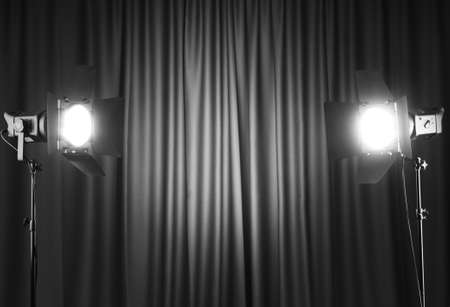 blue spotlight: Curtains and projector lights wtih space for your text