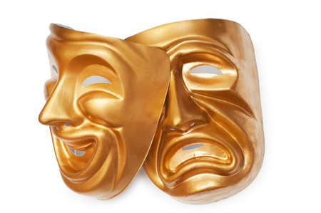 play acting: Masks with the theatre concept