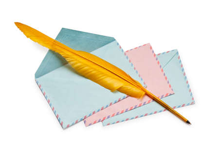 feathe: Letter and feathe isolated on the white Stock Photo