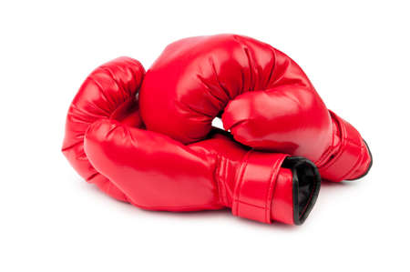 combat sport: Red boxing gloves isolated on white