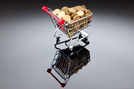 Gold coins in shopping cart photo