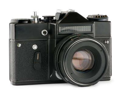 viewfinder vintage: Vintage film camera isolated on white