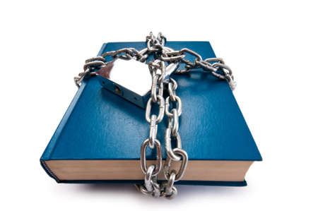 Censorship concept with books and chains on white Stock Photo - 10306458