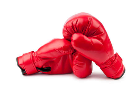 boxing sport: Red boxing gloves isolated on white