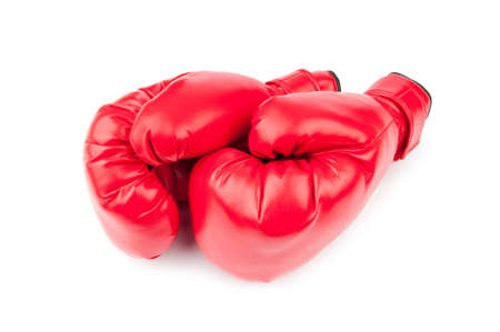 leather glove: Red boxing gloves isolated on white