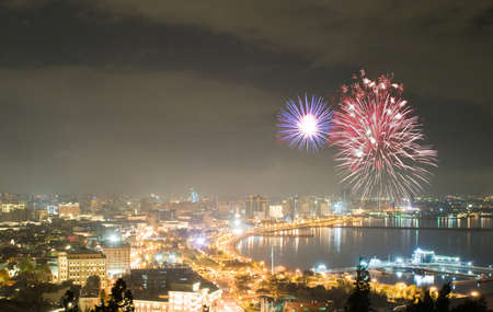 azerbaijan: Fireworks in Baku, Azerbaijan Stock Photo
