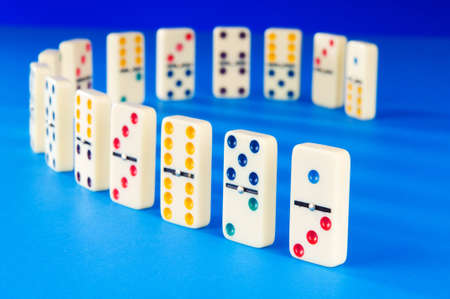 Domino effect with many pieces photo
