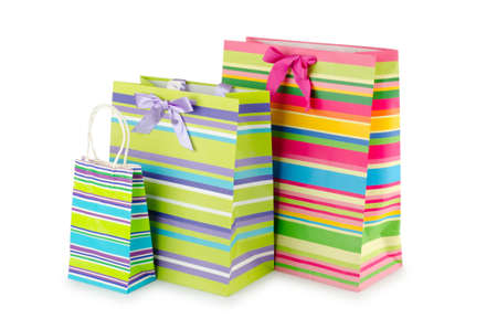 envases plasticos: Concepto de compra con bolsa en blanco