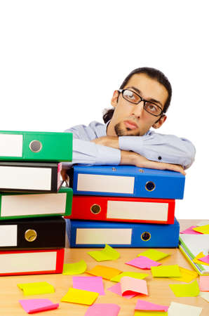 Businessman with many folders on white Stock Photo - 10384419