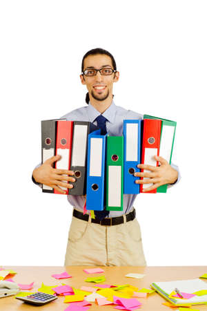 Businessman with many folders on white Stock Photo - 10384411