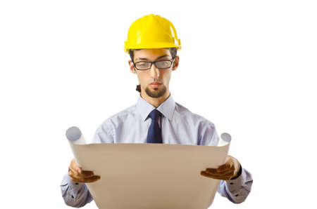 Engineer working with drawings on white Stock Photo - 10384399