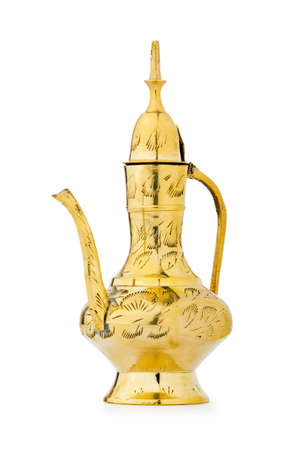 alladdin: Ancient lamp isolated on the white Stock Photo