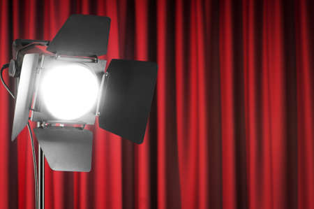 Curtains and projector lights wtih space for your text Stock Photo - 10370899