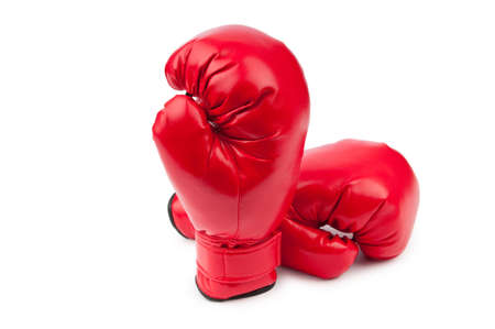 combative: Red boxing gloves isolated on white