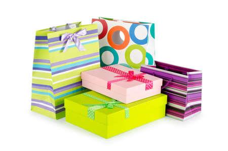 product box: Concetto di shopping con borsa su bianco