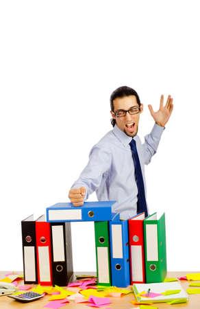 Businessman with many folders on white Stock Photo - 10571678