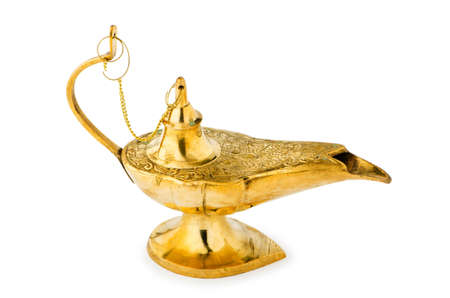 aladdin: Ancient lamp isolated on the white Stock Photo