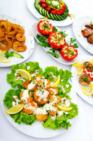 lunch buffet: Table served with tasty meals