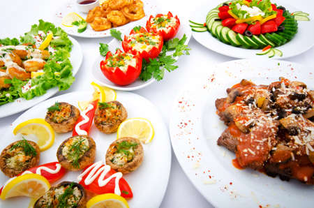 food buffet: Table served with tasty meals