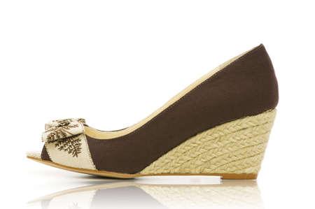 opentoe: Elegant shoes on the white  Stock Photo