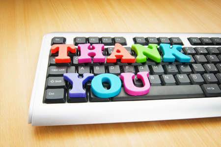 Thank you message on the keyboard Stock Photo - 10561007
