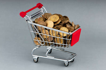 Shopping cart full of coins Stock Photo - 10557333