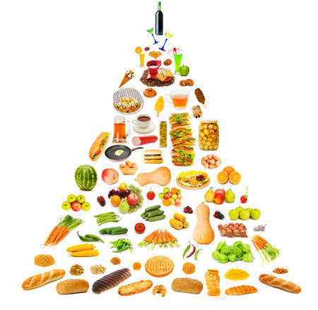 carbohydrates: Food pyramid with lots of items