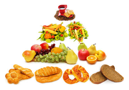 piramide alimenticia: Pir�mide de alimentos con gran cantidad de elementos Foto de archivo