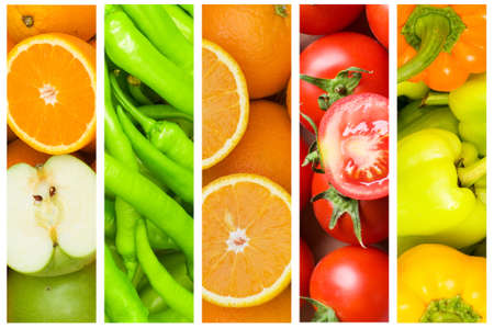 vegetable: Collage of many fruits and vegetables