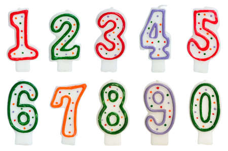 kerze: Geburtstagskerzen auf dem wei�en isoliert Lizenzfreie Bilder