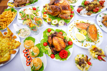banquet: Table served with tasty meals