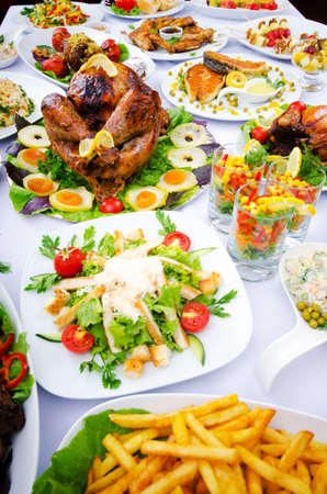 formal dinner party: Table served with tasty meals