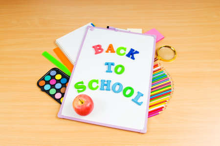 Back to school concept with many items photo
