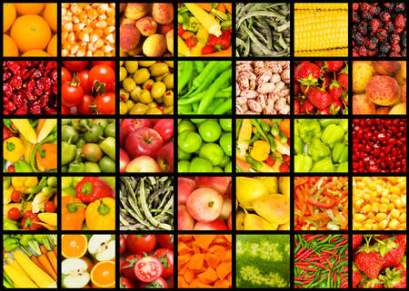 fruits background: Collage of many fruits and vegetables